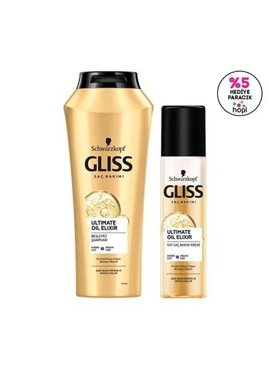 Gliss Ultimate Oil Elixir Besleyici şampuan 500 Ml Ve Kırılma Karşıtı Durulanmayan Sıvı Saç Kremi 200 Ml  Renksiz